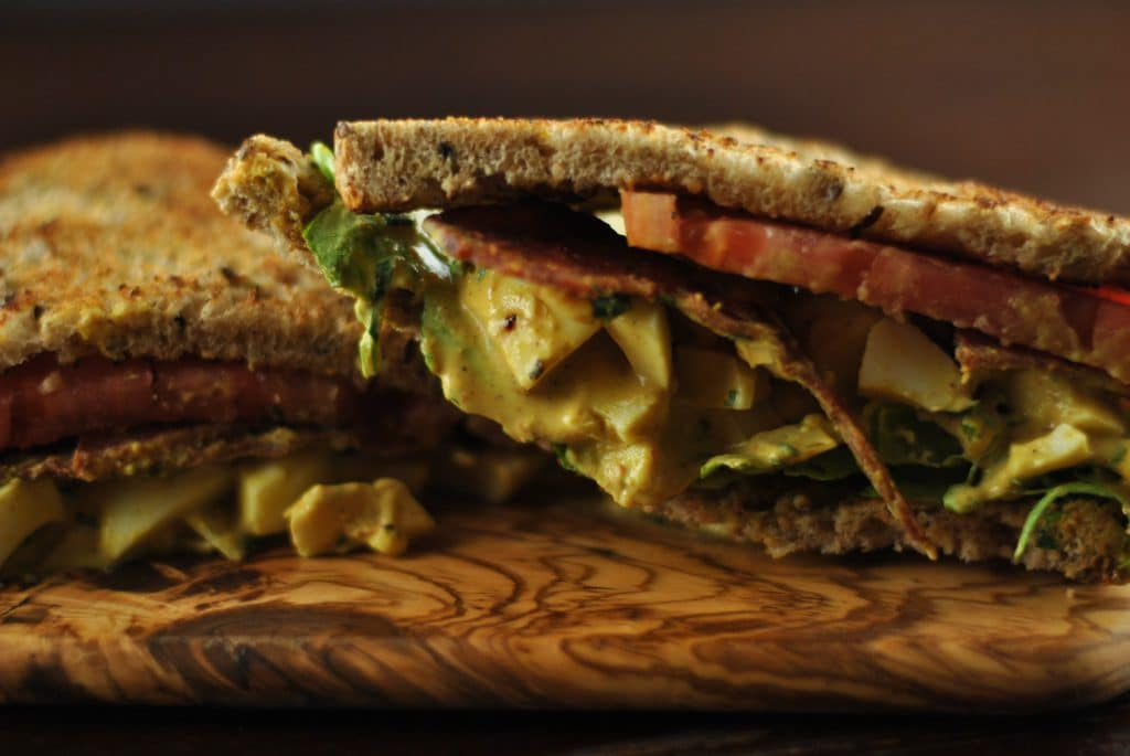 Curried egg salad sandwich 1