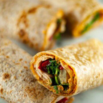 easy 5 minute hummus turkey and veggie wraps