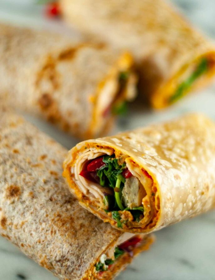 Easy 5 minute hummus, turkey and veggie wraps