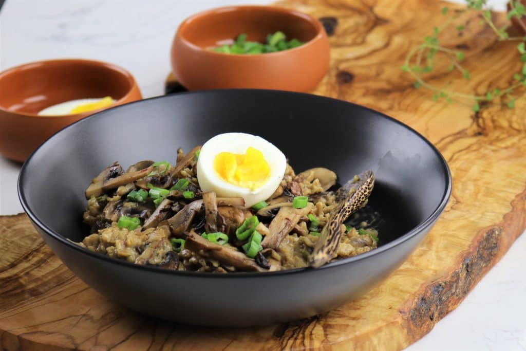 savory mushroom oat risotto