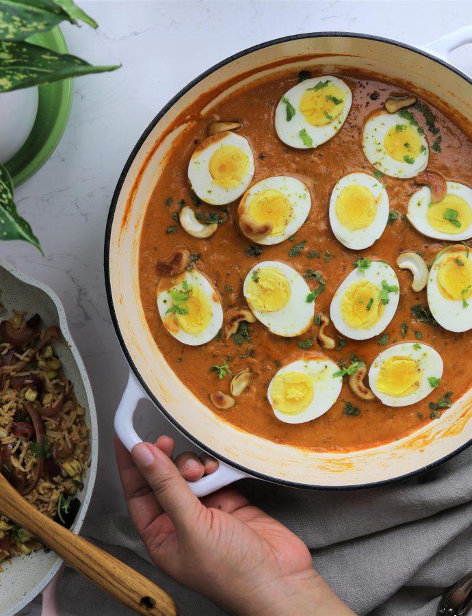 Creamy cashew egg curry