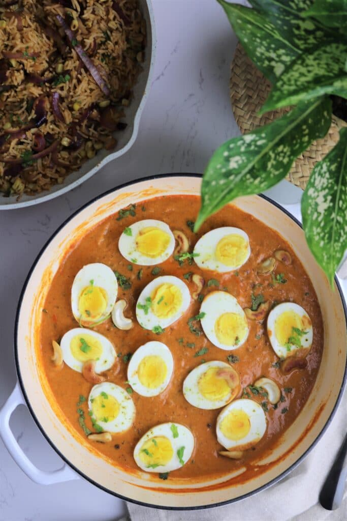 Creamy cashew egg curry