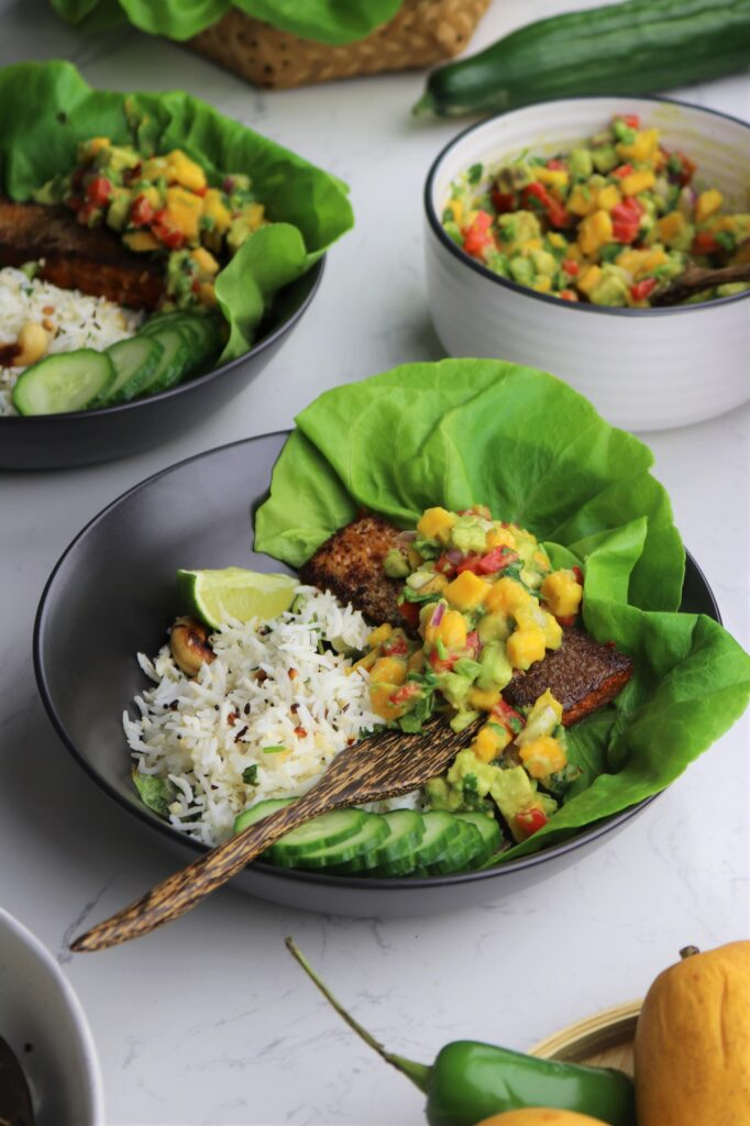 Masala salmon with mango avocado salsa