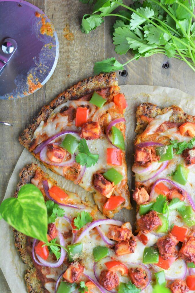 Cauliflower crust paneer tikka pizza