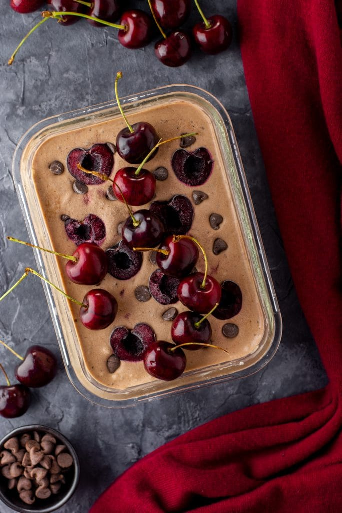 Double chocolate cherry cheesecake ice cream
