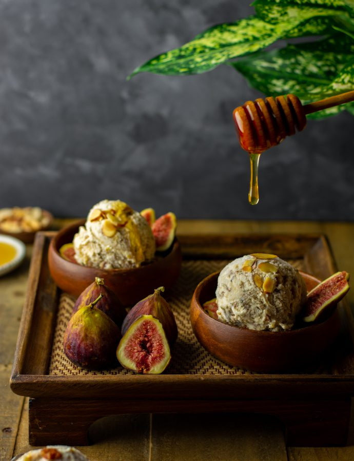 Honey roasted fig and almond cheesecake ice cream