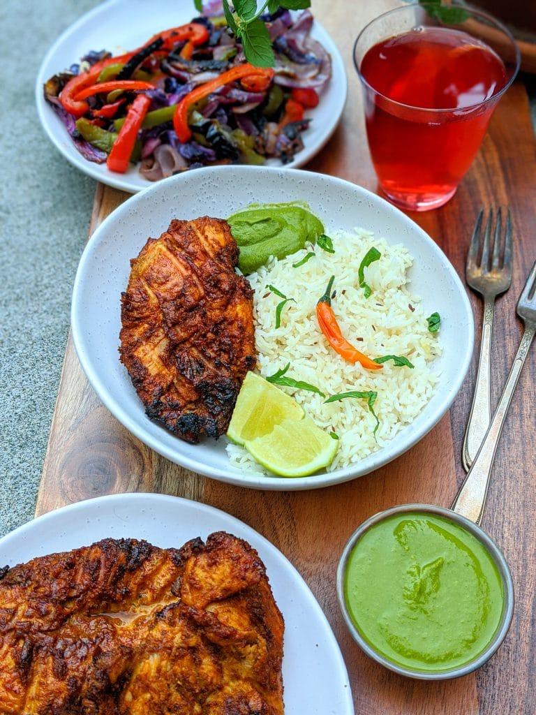 Spicy saffron grilled chicken