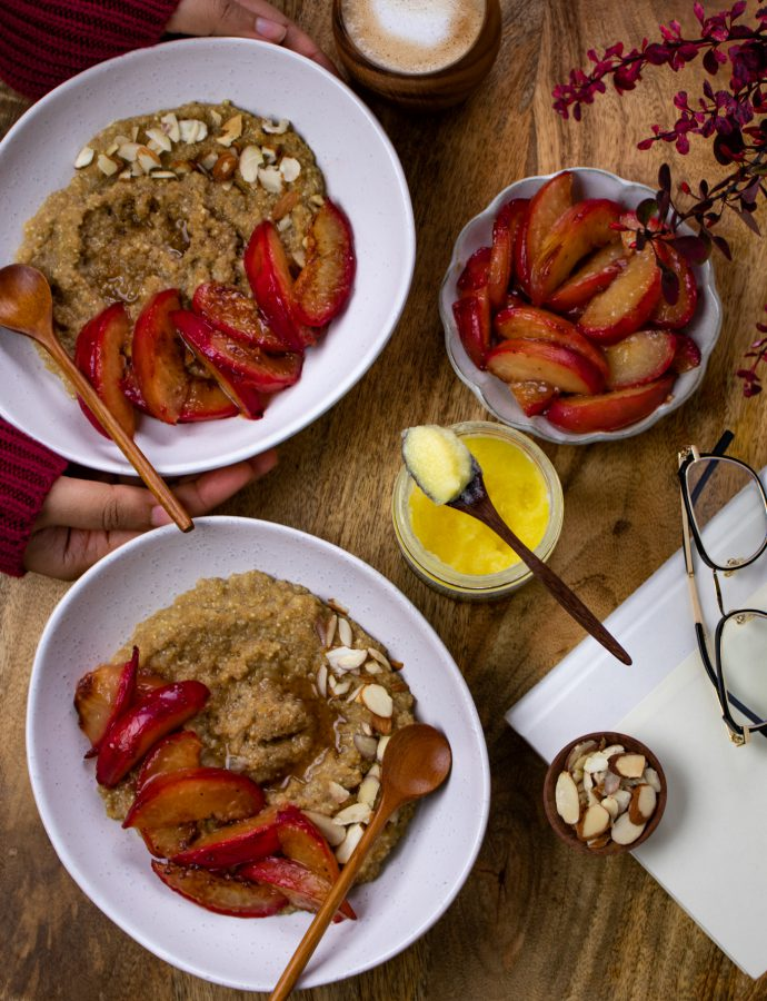 Amaranth quinoa breakfast bowl with maple cardamom plums
