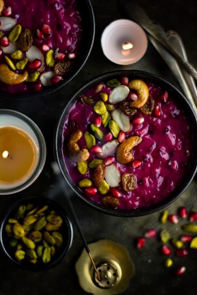 Beet and rice pudding (Indian rice kheer)