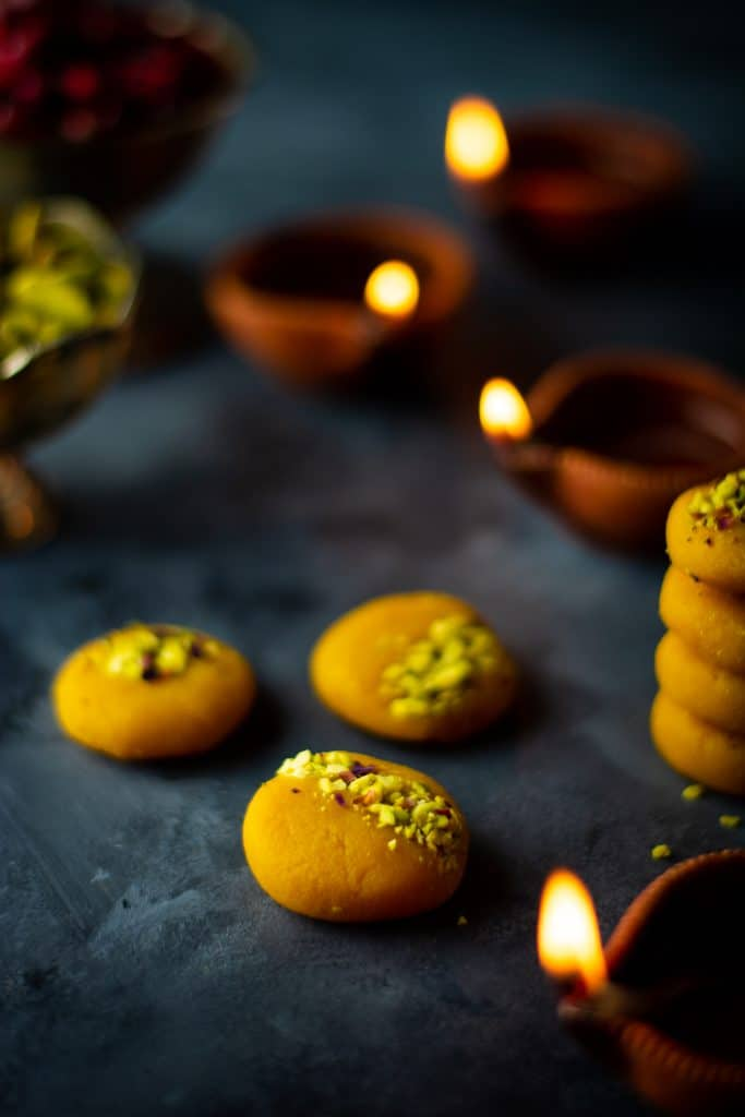 Almond mango peda (Indian mango fudge)
