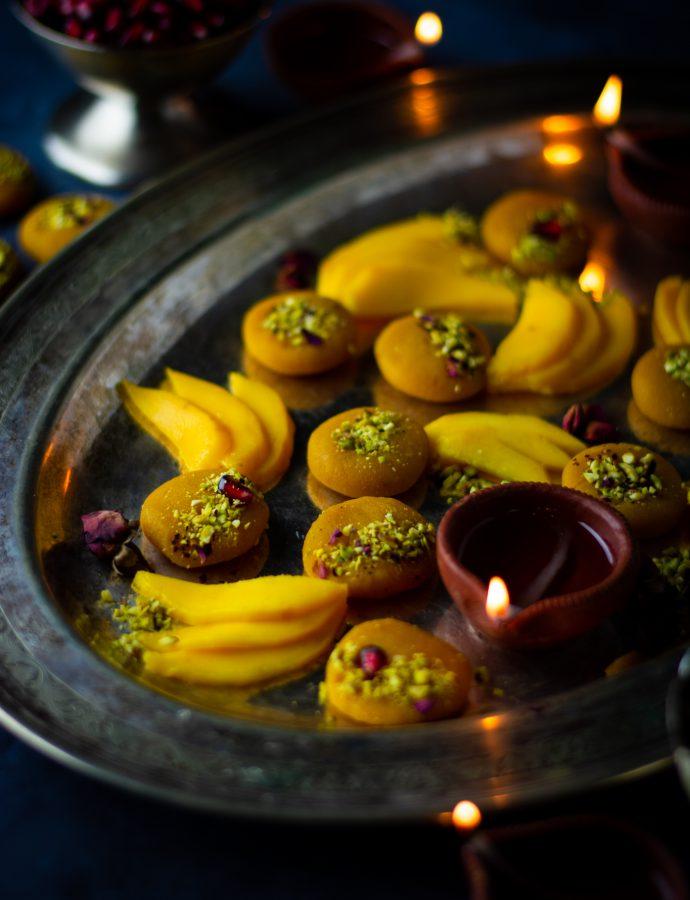 Almond mango peda (Indian mango fudge)