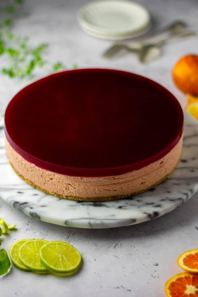 Blood orange and guava cheesecake