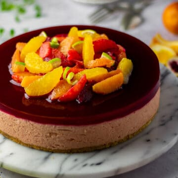 Blood orange and guava cheesecake