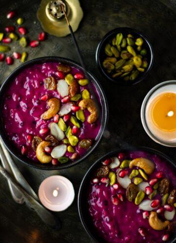 Instant pot vegan beet and rice pudding