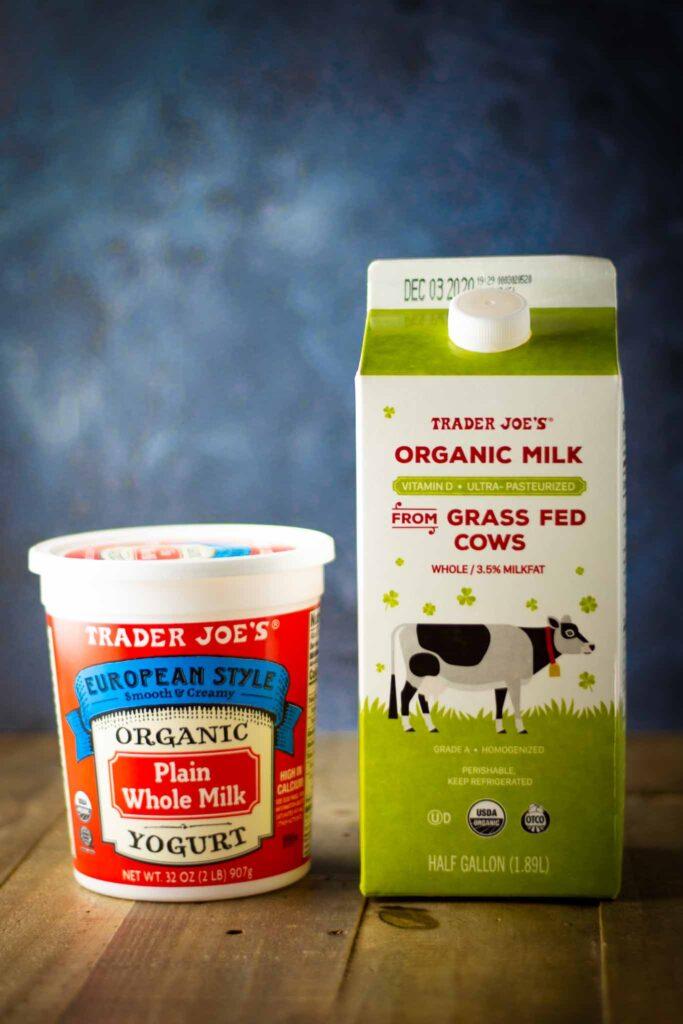 Ingredients to make instant pot cold start yogurt